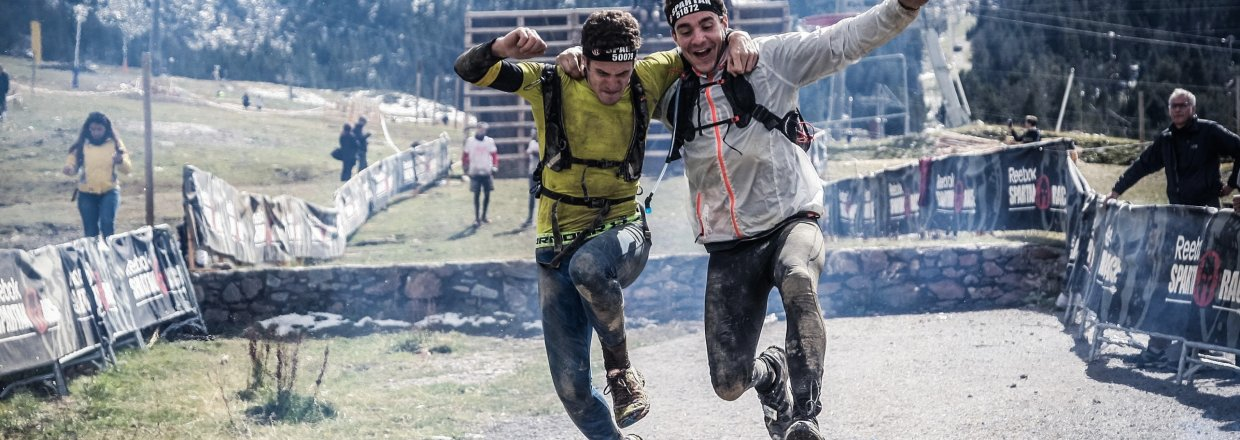 Competitors completing a Spartan race